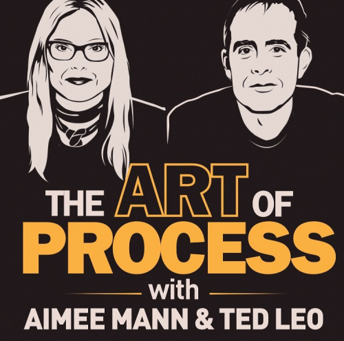 "Podcast Art for ""The Art of Process"" with Aimee Mann & Ted Leo - black & white sketch of woman with long blonde hair & glasses, & a man with brown hair"