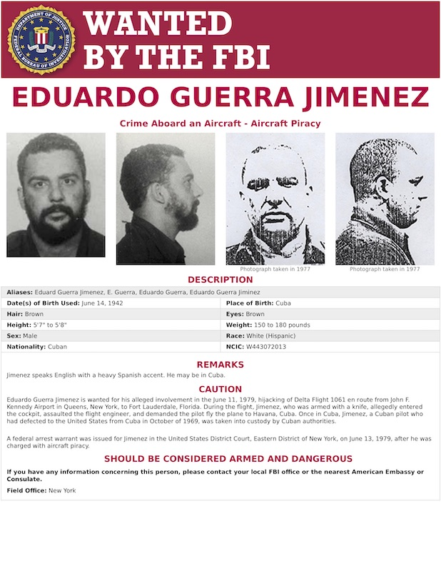 FBI Most Wanted poster for Eduardo Guerra Jimenez with Mug Shots