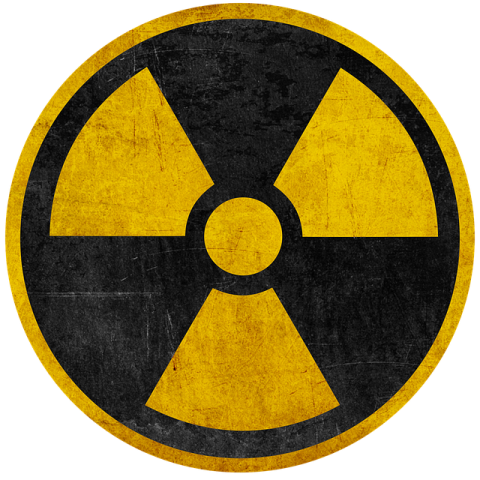 Radiation Warning Symbol in Black & Yellow